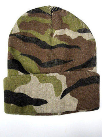 Camouflage Camo Green Tan Winter Knit Hat Skull Cap Toboggan Beanie Hunting