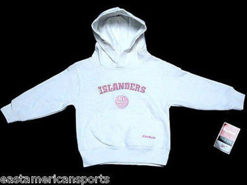 New York Islanders NHL Reebok Toddler Girls White Pink Hoodie Sweater Jacket 3T