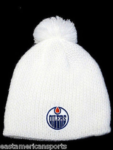 Edmonton Oilers NHL Reebok White Pom Ball Knit Hat Cap Ski Snow Winter Beanie