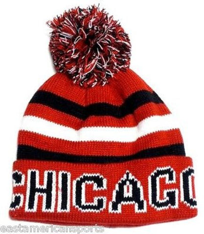 Chicago Blackhawks Classic Red POM Ball Knit Hat Cap Striped Text Winter Beanie