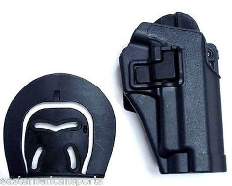 Black P226 Style Pistol Gun Retention Holster Button Release Belt Paddle Holder