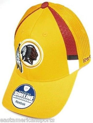 Washington Redskins NFL Reebok Sideline Hat Cap Yellow Burner Mesh Fitted S/M