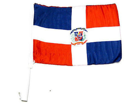 "Dominican Republic Window Door 17"" x 12"" Car Flag Country Soccer Pride Banner"