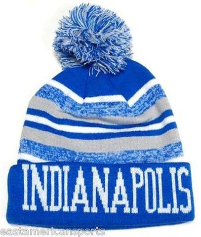 Indianapolis Colts Blue / White Classic POM Ball Knit Hat Cap Winter Ski Beanie