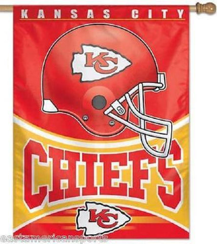 Kansas City Chiefs NFL 27 x 37 Vertical Hanging Wall Flag Helmet Logo Bar Banner