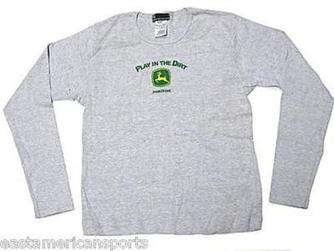 John Deere Play In The Dirt Gray Long Sleeve Shirt Top Green Logo Youth Girls L