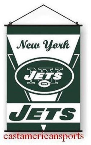 New York Jets NFL 28 x 40 Wall Banner Verticle Fan Flag Hanging Poles Bar Room