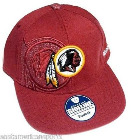 Washington Redskins NFL Reebok Sideline Flat Visor Red Hat Cap Flex Fitted S/M