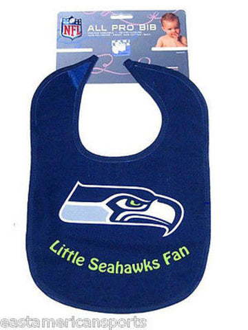 Seattle Seahawks NFL Baby Boys Blue Bib Infant Toddler Newborn Little Fan Logo