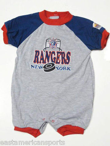 New York Rangers NHL Infant Baby Gray Onesie Romper Sleeper Creeper Coverall 18M