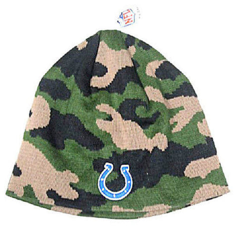 Indianapolis Colts NFL Army Camo Knit Hat Cap Ski Camouflage Beanie Blue Logo