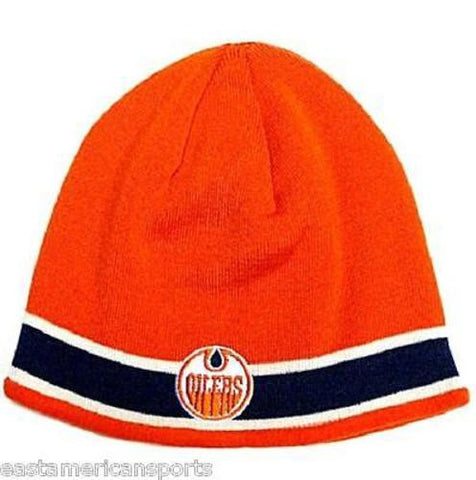 Edmonton Oilers NHL CCM Vintage Orange Blue Stripe Knit Hat Cap Winter Beanie