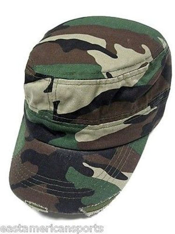 Camouflage Camo Distressed Woodland Cadet Flat Top Hat Cap Hunting Military Army