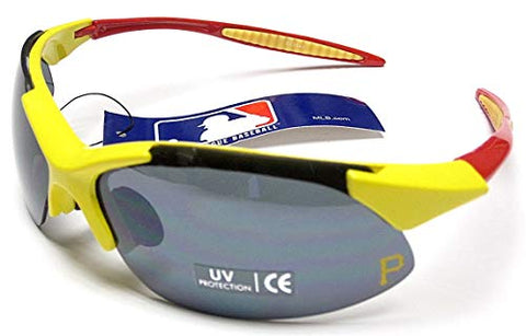 siskiyousport Pittsburgh Pirates MLB Rimless Blade Frame Yellow Red UV Extreme Sunglasses Blade Adult Men's