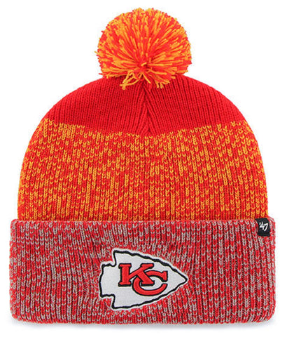 Kansas City Chiefs NFL '47 Static Cuff Pom Knit Torch Red Adult Size Beanie