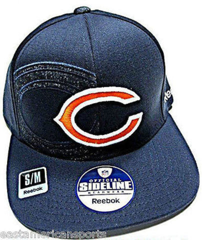 Chicago Bears NFL Reebok Sideline Blue Flat Visor Logo Hat Cap Flex Fitted S/M