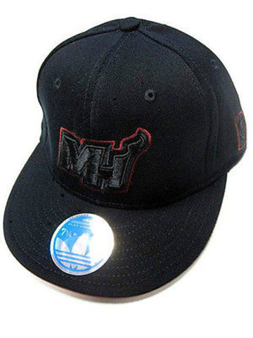 Miami Heat NBA Adidas Solid Black Flat Brim Visor Hat Cap MH Logo Flex Fit L/XL