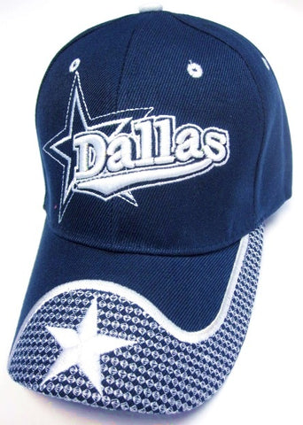 Dallas Cowboys Blue Hat Cap Script Wave Visor Embroidered Signature Star Logo