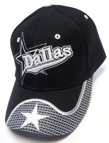 Dallas Cowboys Black Hat Cap Script Wave Visor Embroidered Signature Star Logo