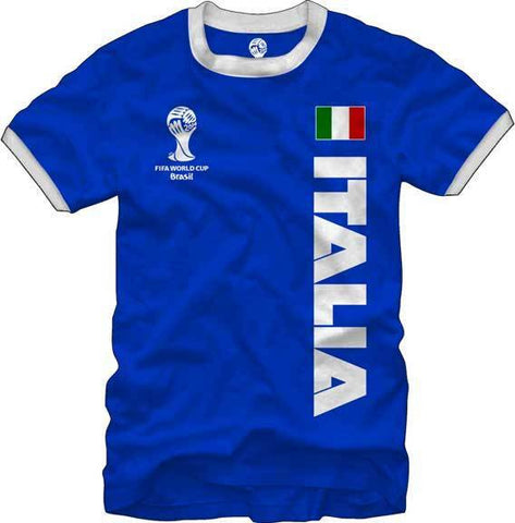 e6b8332b77ed9 Italia Italy Soccer FIFA World Cup 2014 T - Shirt Blue Flag Logo Men s –  East American Sports LLC