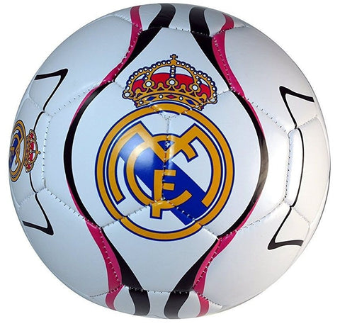Real Madrid Club Team Logo White Pink Soccer Ball Official Weight & Size 5