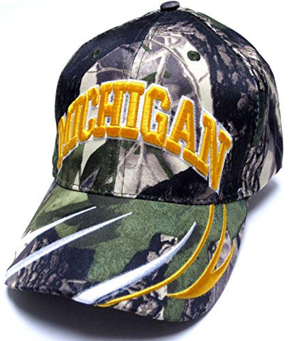 Michigan Camo Realtree Hat Cap Structured Curvy Lines Adult Men's Adjustable