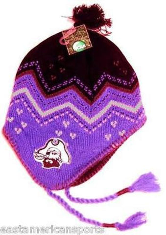 ECU Pirates NCAA Purple Black Pom Tassel Knit Hat Cap Winter Ski Beanie Carolina
