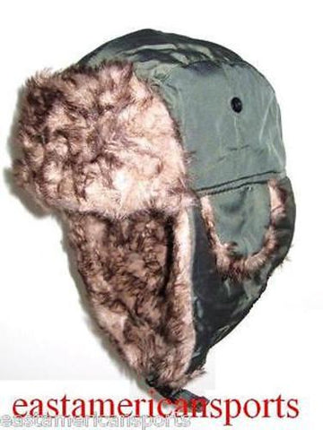 Trooper Bomber Olive Green Faux Hat Winter Ski Cap Fur Hunting Hiking Motorcycle