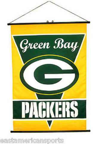 Green Bay Packers NFL 28 x 40 Wall Banner Verticle Flag Hanging Poles Bar Room