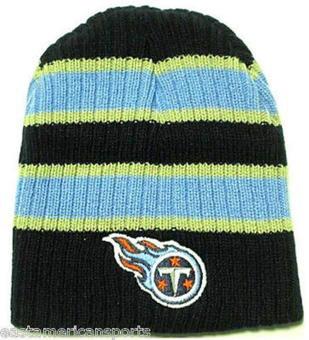 Tennessee Titans NFL Double Wide Strip Knit Hat Cap Blue Snow Ski Winter Beanie