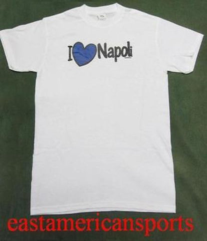 I Love Napoli Italy Italia White Shirt Blue Azzurri Heart Naples Soccer Adult M