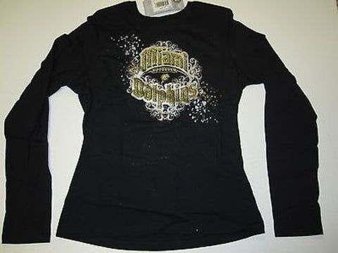 Miami Dolphins Reebok Gold Glitter Long Shirt Womens M