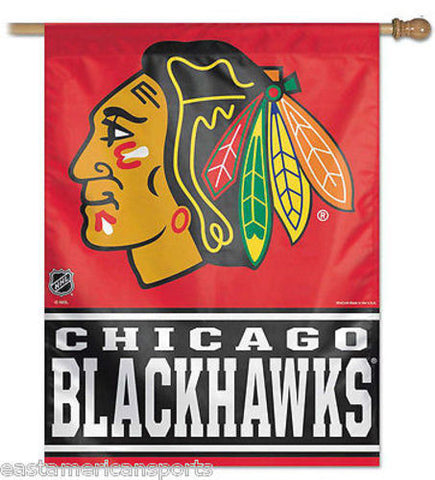 Chicago Blackhawks NHL 27 x 37 Vertical Hanging Wall Flag Fan Banner Logo Bar