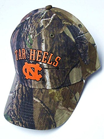 Captivating Headwear North Carolina Tar Heels NCAA Structured Hat Cap RealTree Camo Blaze Orange Text Adult Men's Adjustable