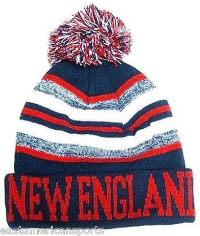 New England Patriots Blue / Red Classic POM Ball Knit Hat Cap Winter Ski Beanie