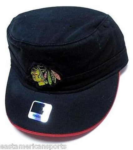 Chicago Blackhawks NHL Reebok Black Military Cadet Flat Top Hat Cap Patch Logo