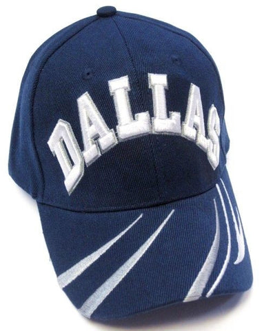 Dallas Cowboys Blue Hat Cap Embroidered White/Gray Text Logo Curvy Lines Brim
