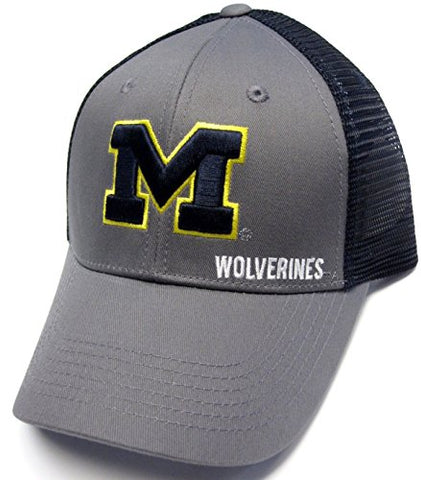Michigan Wolverines NCAA Gray Structured Hat Cap Navy Mesh Back Snapback Adult Men's Adjustable