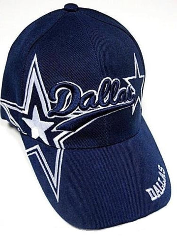 Dallas Cowboys Blue Hat Cap Script Visor Embroidered Signature Double Star Logo