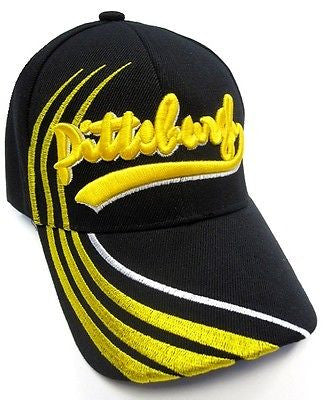 Pittsburgh Steelers Solid Black Hat Cap Yellow Signature Cursive Logo w/ Lines