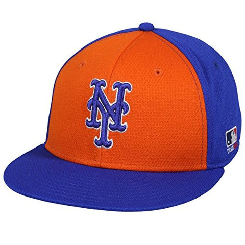 OC Sports MLB-400 MLB Mesh Baseball Cap - New York Mets Colorblock Royal Orange/6 7/8-7 1/2