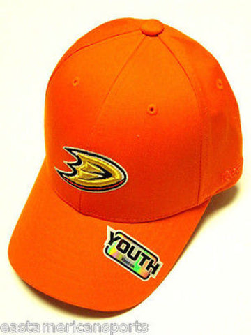 Anaheim Mighty Ducks NHL Reebok YOUTH 4-7 Orange w/ Logo Hat Cap Structured Kids