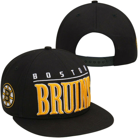 Boston Bruins NHL New Era 9Fifty Black Flat Big Word Hat Cap Adult Snapback M/L