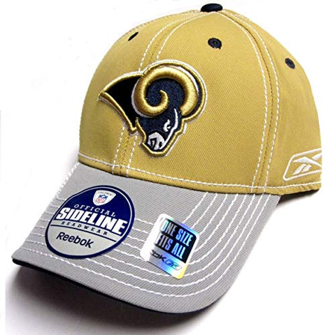 Reebok Los Angeles Rams NFL Stitched Gold Gray Two Tone Hat Cap Flex Fit Men's M/L