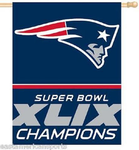 New England Patriots NFL 27 x 37 Super Bowl 49 Champions Vertical Flag Banner