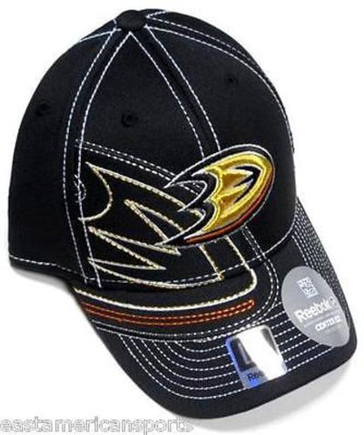 Anaheim Ducks NHL Reebok Black Orange Draft Hat Cap Stitched Logo Flex Fit L/XL