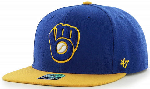 Milwaukee Brewers MLB '47 Blue Sure Shot Two Tone Captain Hat Cap Adult Flat Brim Snapback