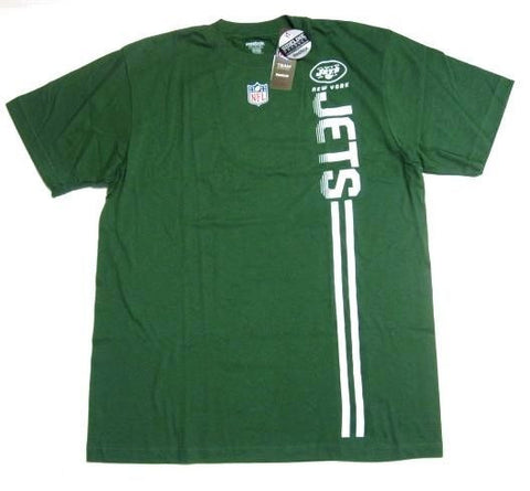 New York Jets NFL Reebok Sideline Green White Vertical Logo T Shirt Mens Large L