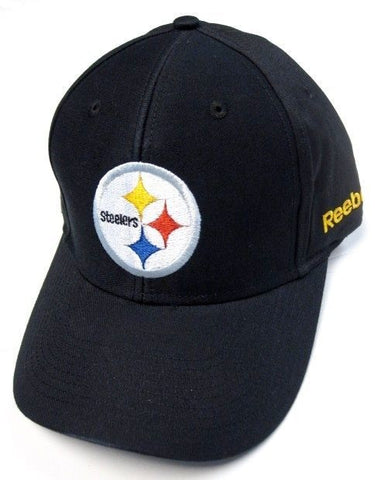 Pittsburgh Steelers NFL Reebok Solid Black Hat Cap Round logo Adult Adjustable