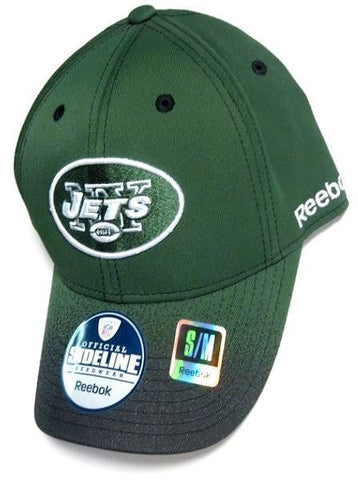 New York Jets NFL Reebok Sideline Hat Cap Green w  Black Spray Flex Fit S 2eea2d855